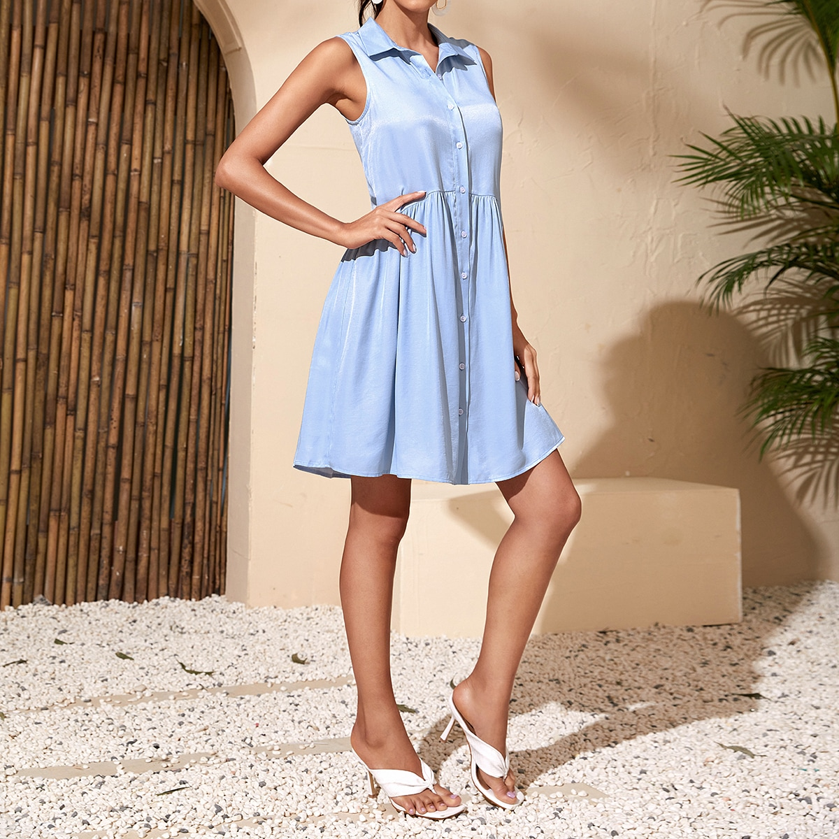 Solid Button Through Shirt Dress, SHEIN  - buy with discount