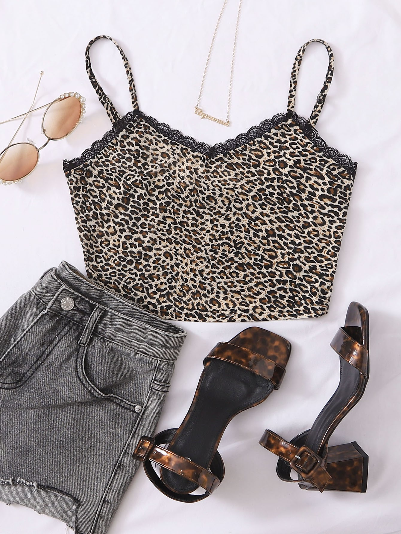 Lace Detail Leopard Cami Top thumbnail