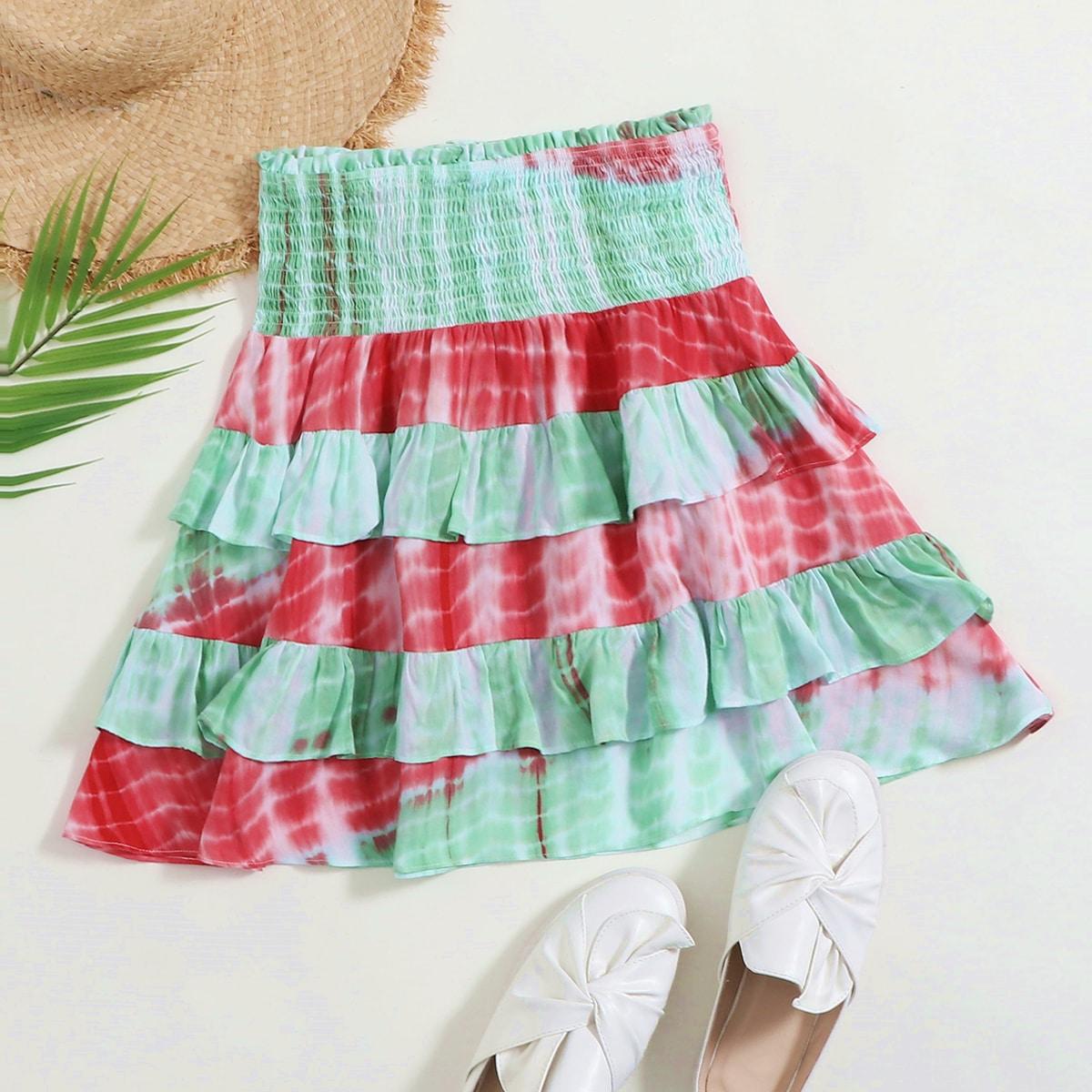 Разноцветная многослойная юбка