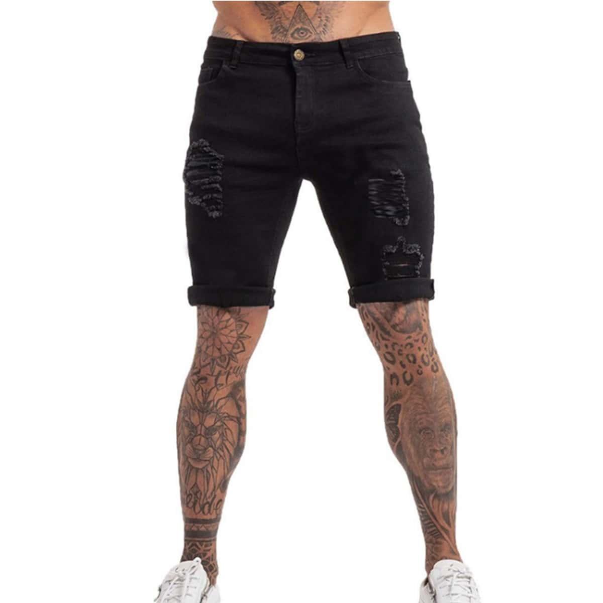 Мужские рваные джинсовые шорты