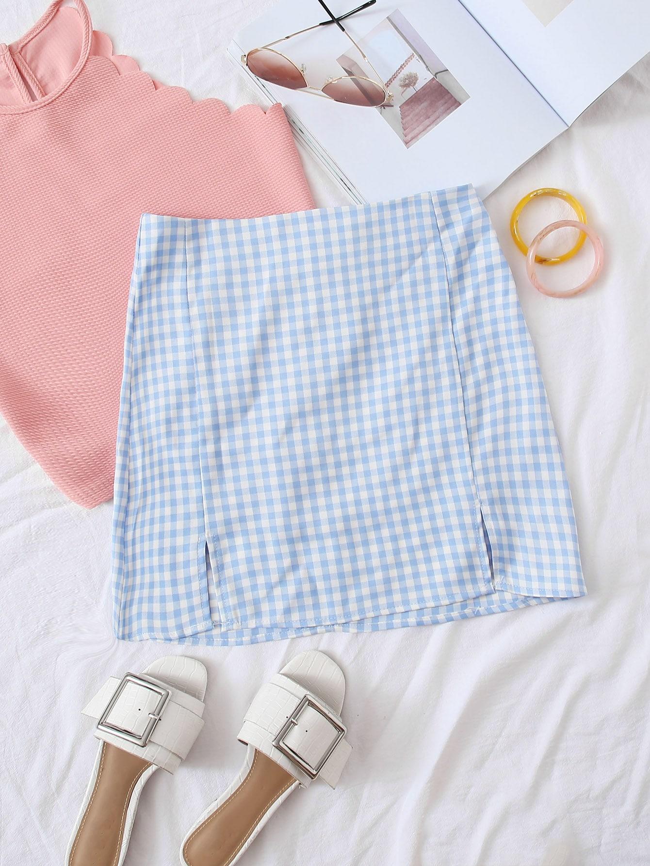 Gingham Zippered M-Slit Mini Skirt thumbnail