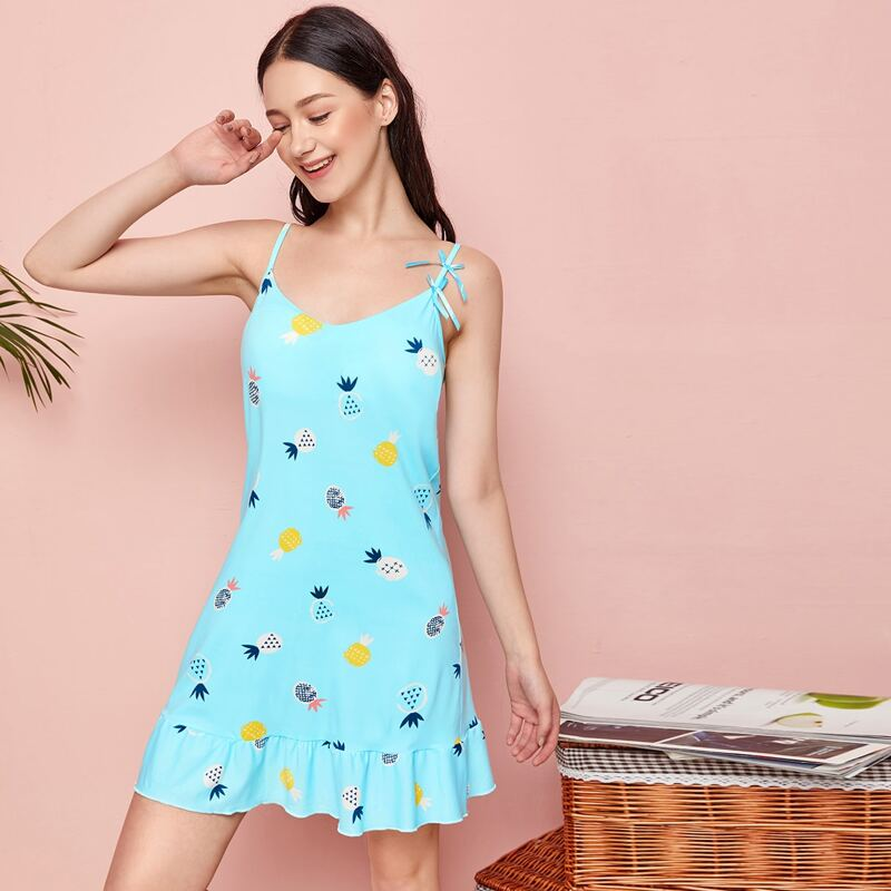 Pineapple Print Ruffle Cami Nightdress With Eye Cover, Mint blue