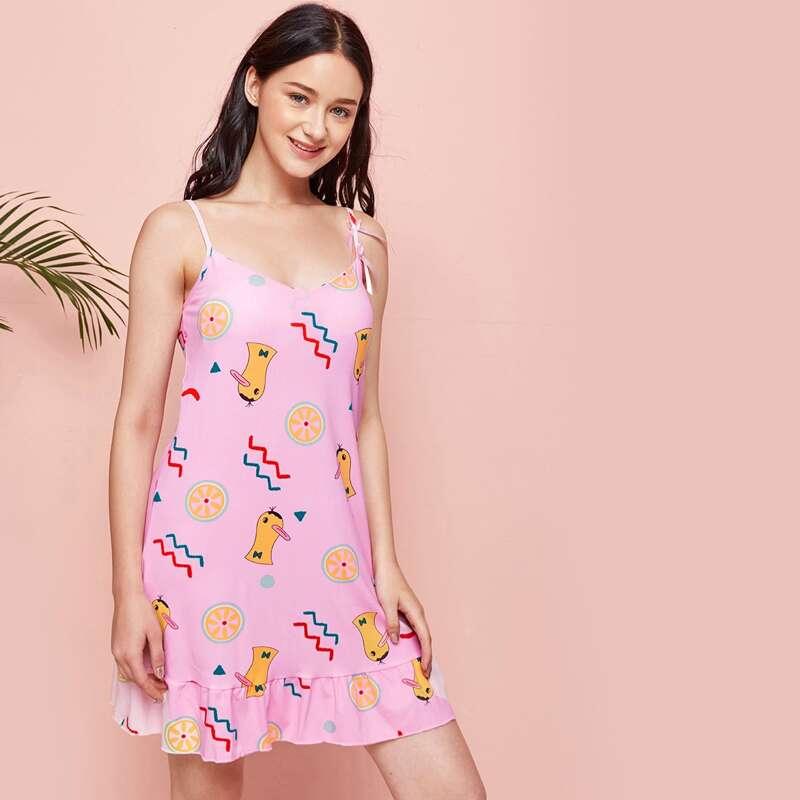 Cartoon Duck Ruffle Cami Nightdress, Baby pink