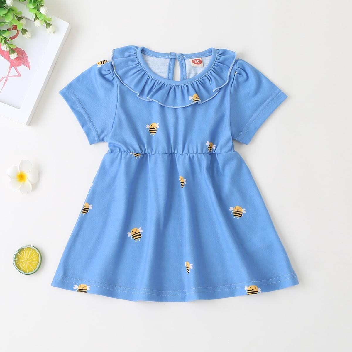 Платье с принтом пчелки и застежкой сзади для девочек от SHEIN