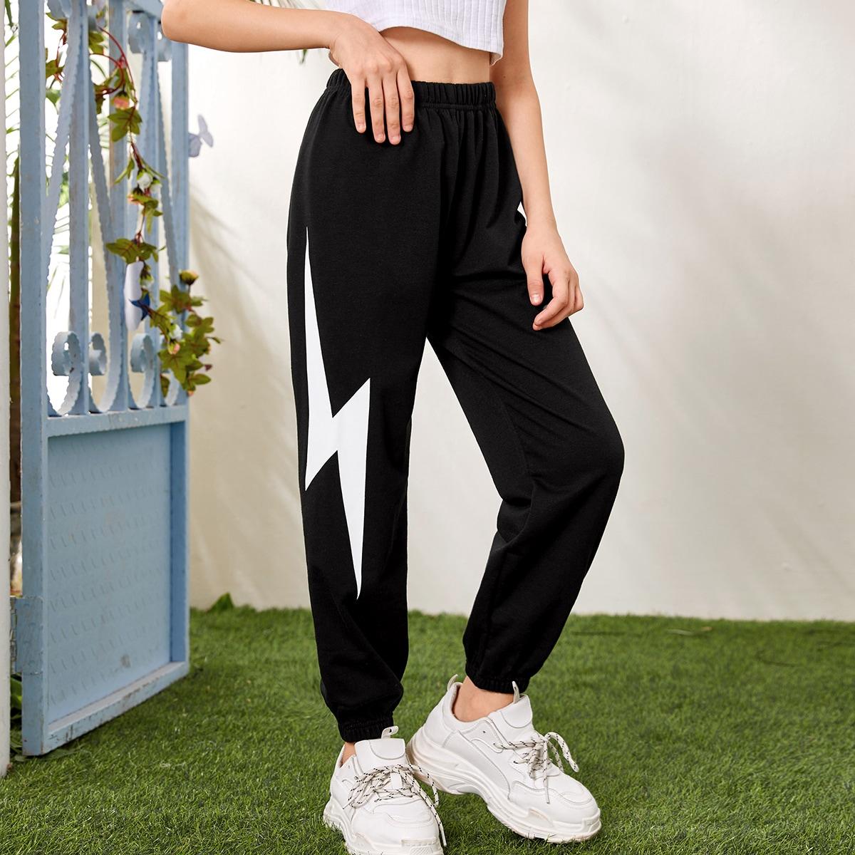 Спортивные брюки с принтом для девочек