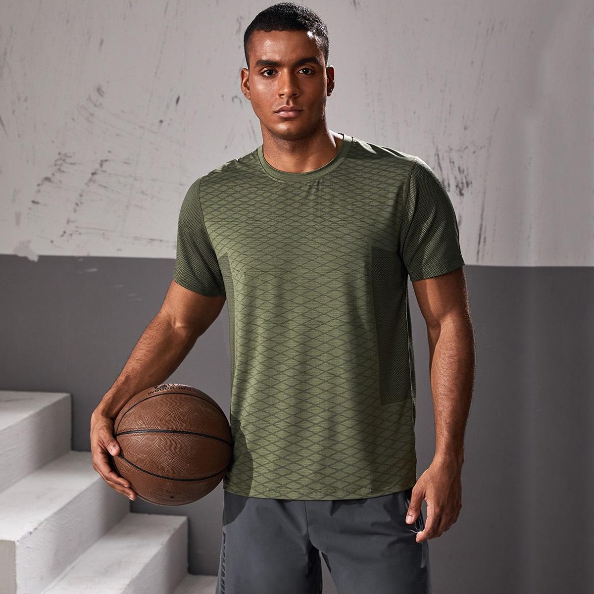 Мужская быстросохнущая спортивная футболка с геометрическим узором