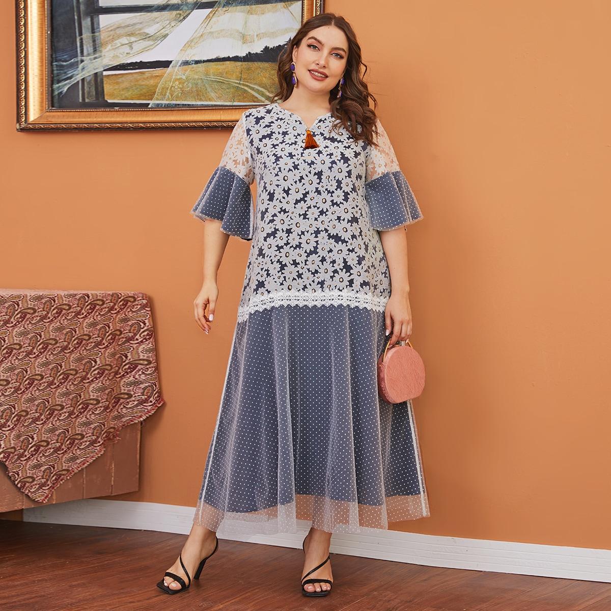 Многихцветные контрастные кружева цветочный элегантный платья размер плюс