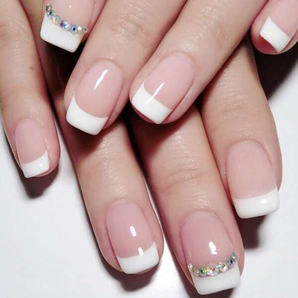 Rhinestone French Tip Tape-On Nail Set - 12 Pairs, Multicolor