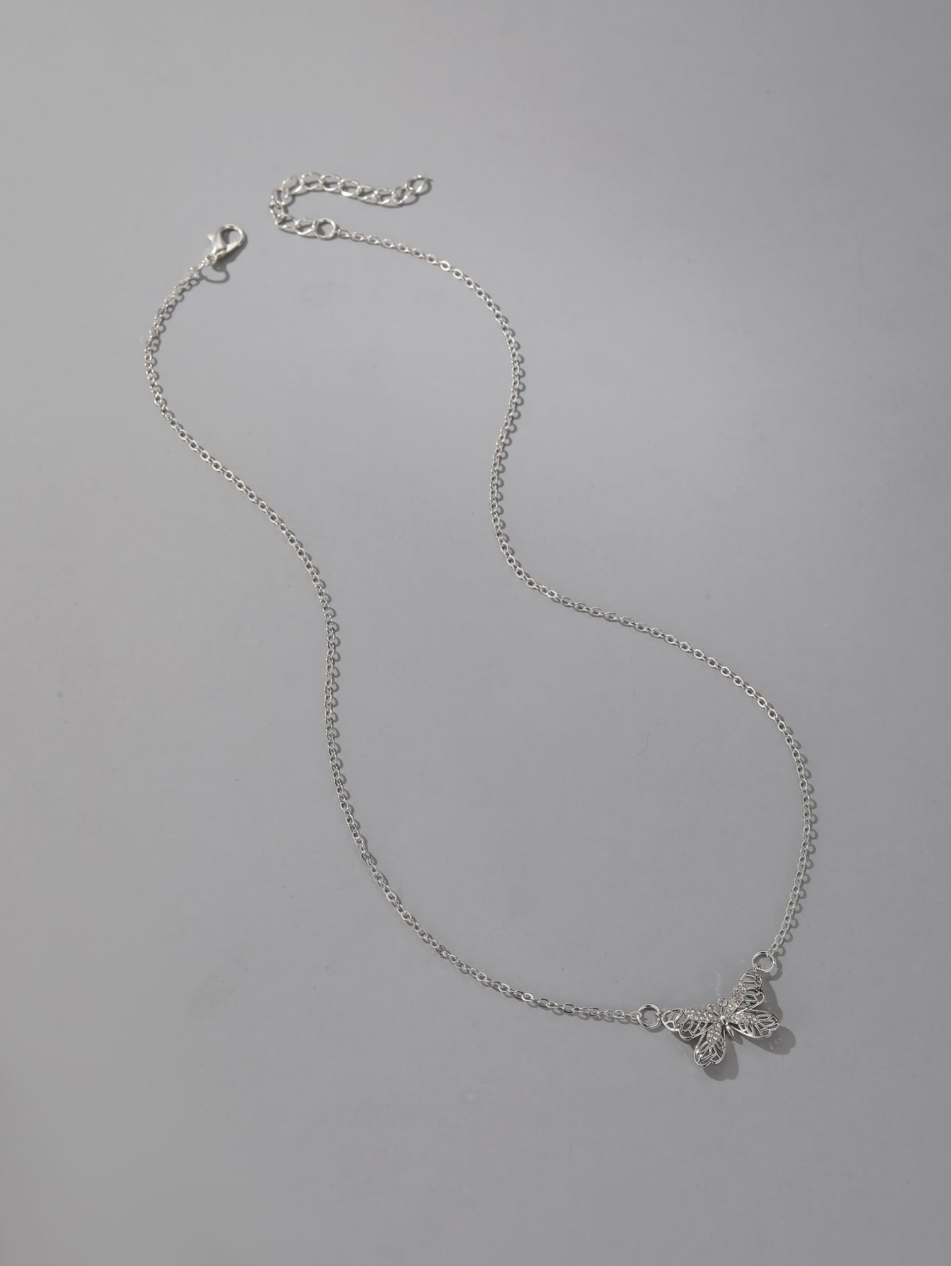 Rhinestone Butterfly Charm Necklace thumbnail