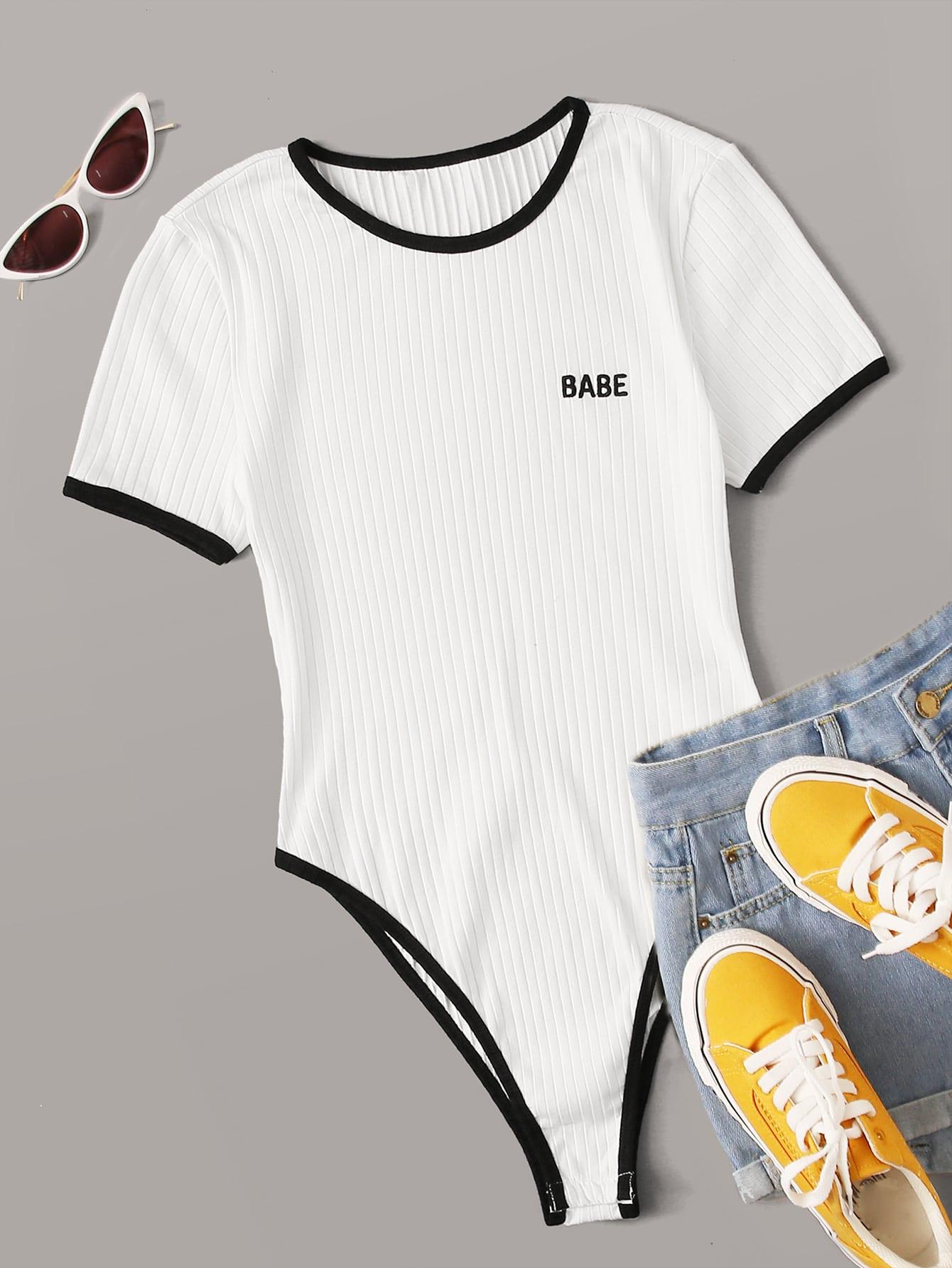 plus ribbed babe graphic ringer bodysuit