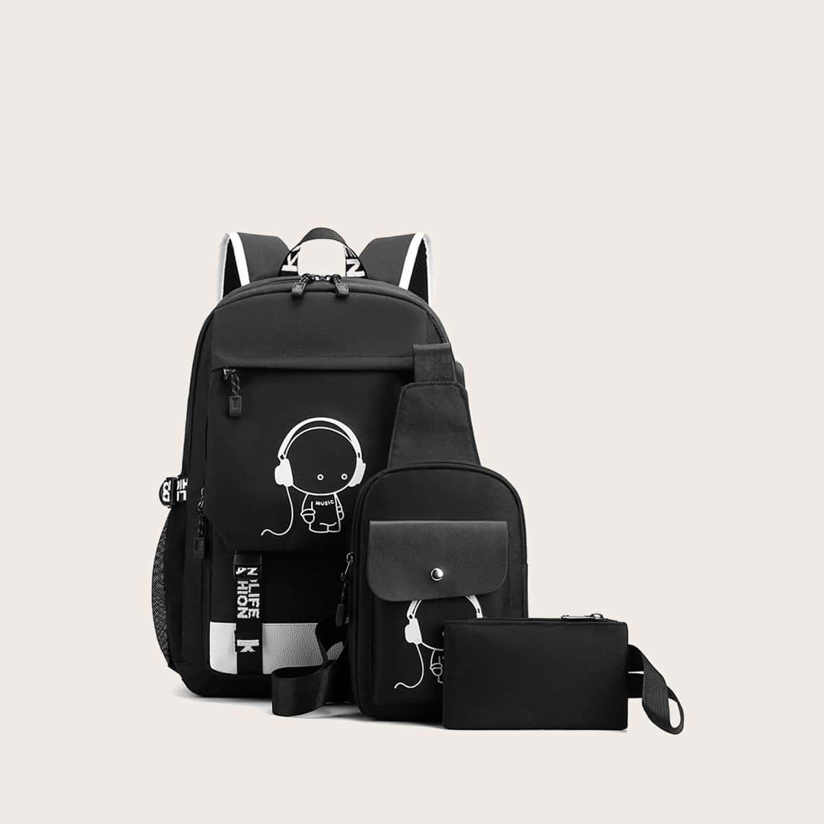 3шт мужская сумка с мультяшным принтом от SHEIN