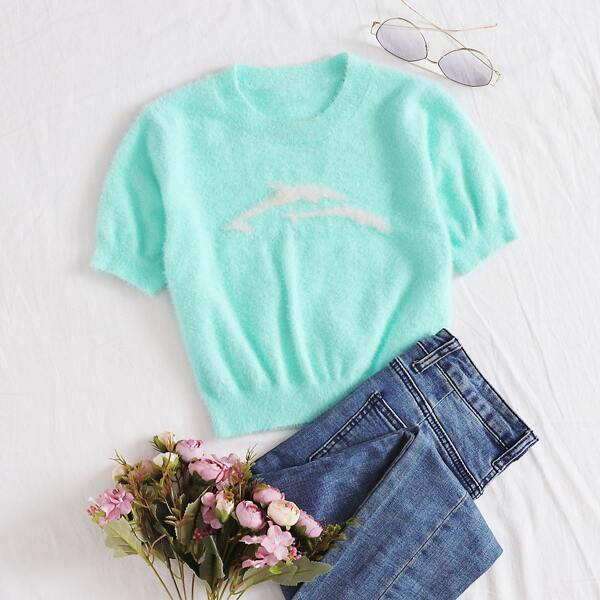 Graphic Fluffy Knit Crop Top, Bright mint blue