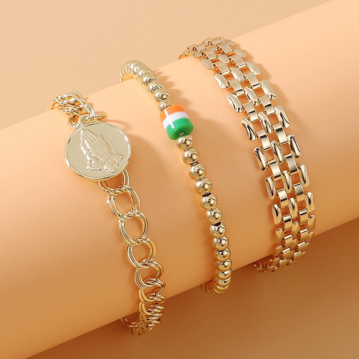 3 Stücke Armband mit Münze Dekor