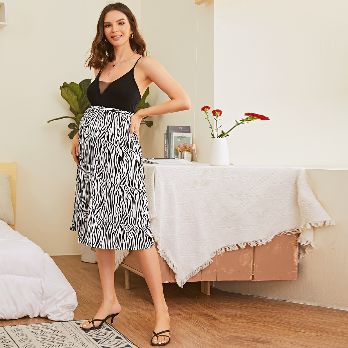 Плиссированная юбка в полоску зебры для беременных
