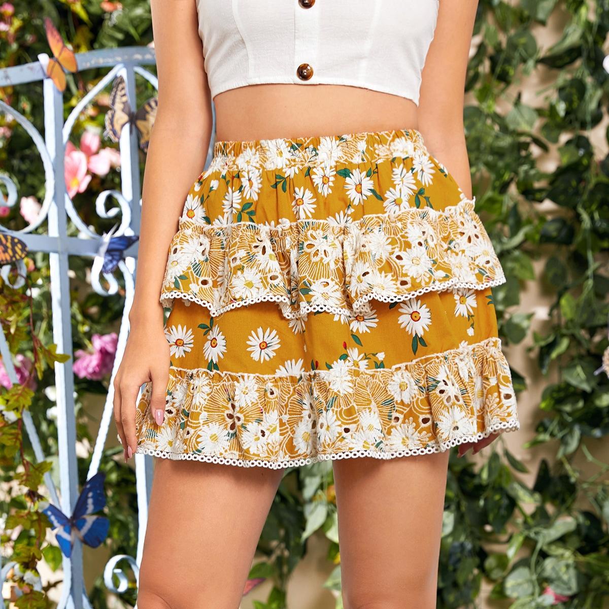 Многоцветный cascata цветочный бохо юбки