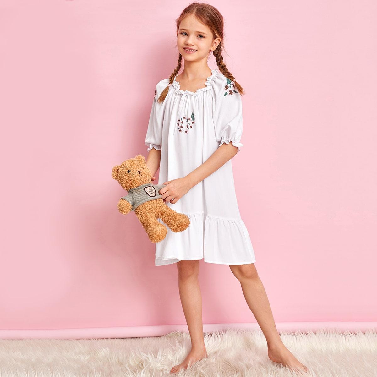 Ночная рубашка с цветочным принтом и оборкой для девочек