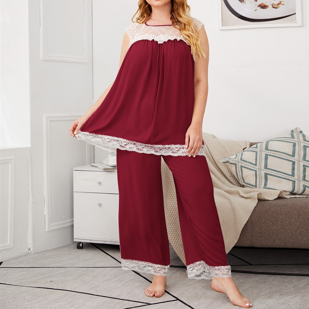 shein Bordeaux Elegant Kleurblok Grote maten pyjama sets Contract kant