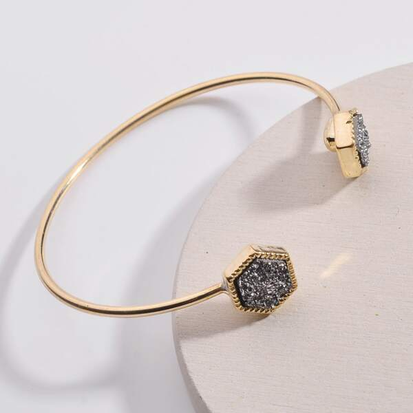 Hexagon Decor Cuff Bracelet, Black
