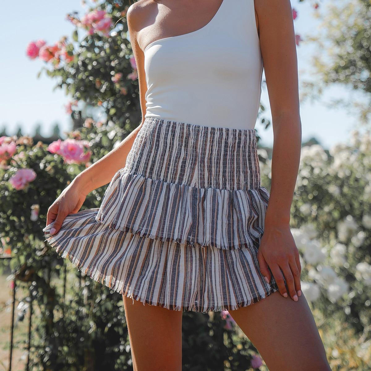 Многослойная юбка в полоску