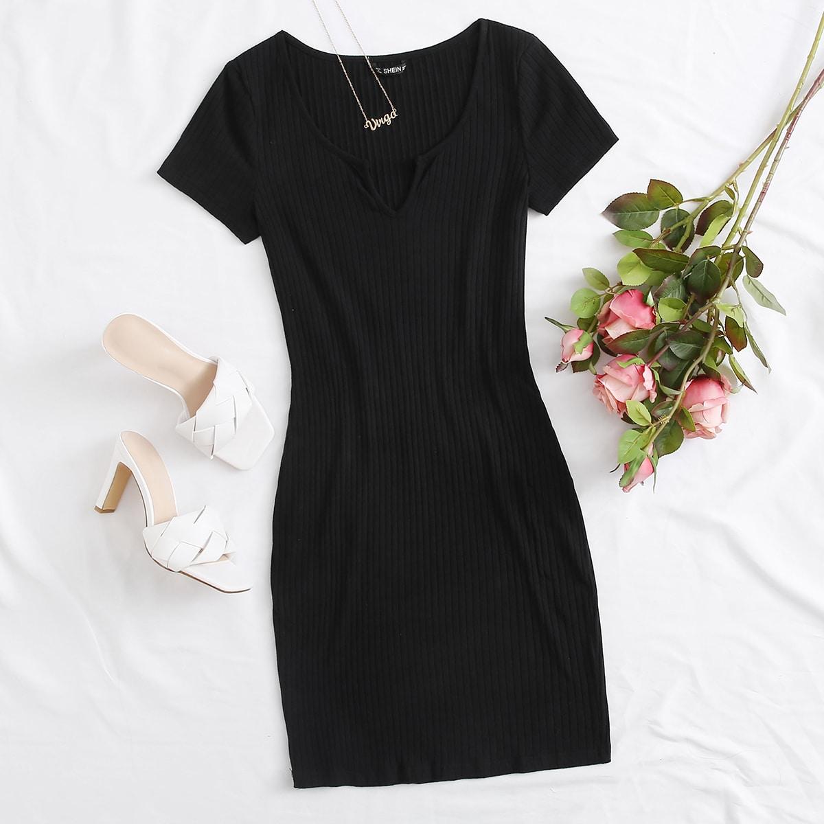Вязаное облегающее платье SheIn swdress07200508122