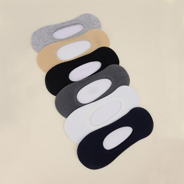 6pairs Solid Invisible Socks, Multicolor