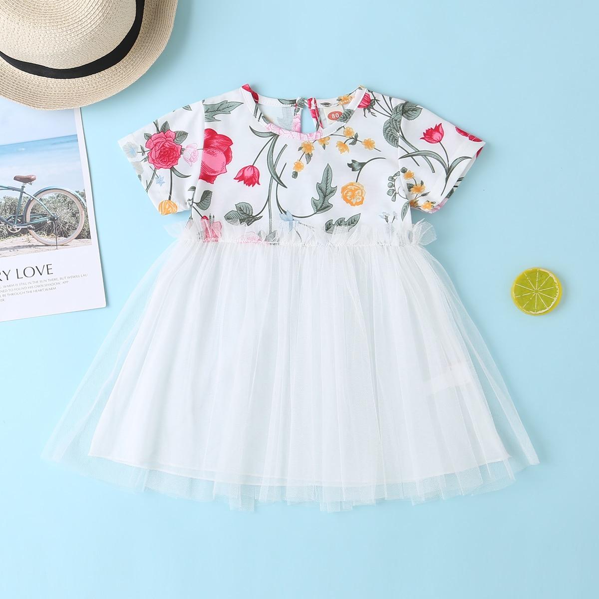 Белый Контрастная сетка Цветочный принт милый Платья для малышей от SHEIN