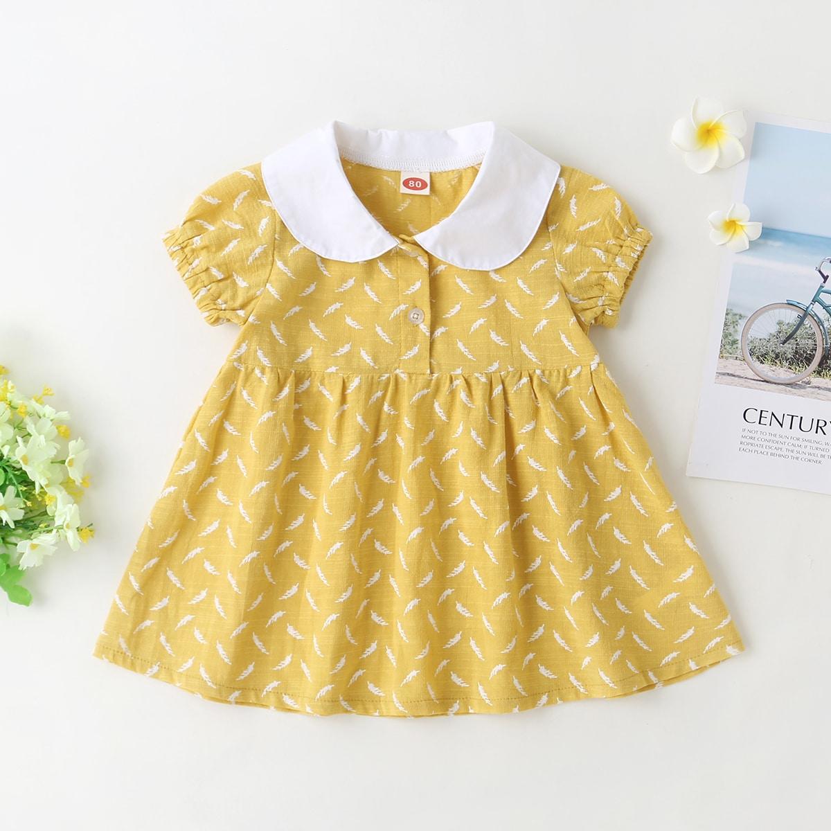 Жёлтые Контрастный воротник Растения милый Платья для малышей от SHEIN