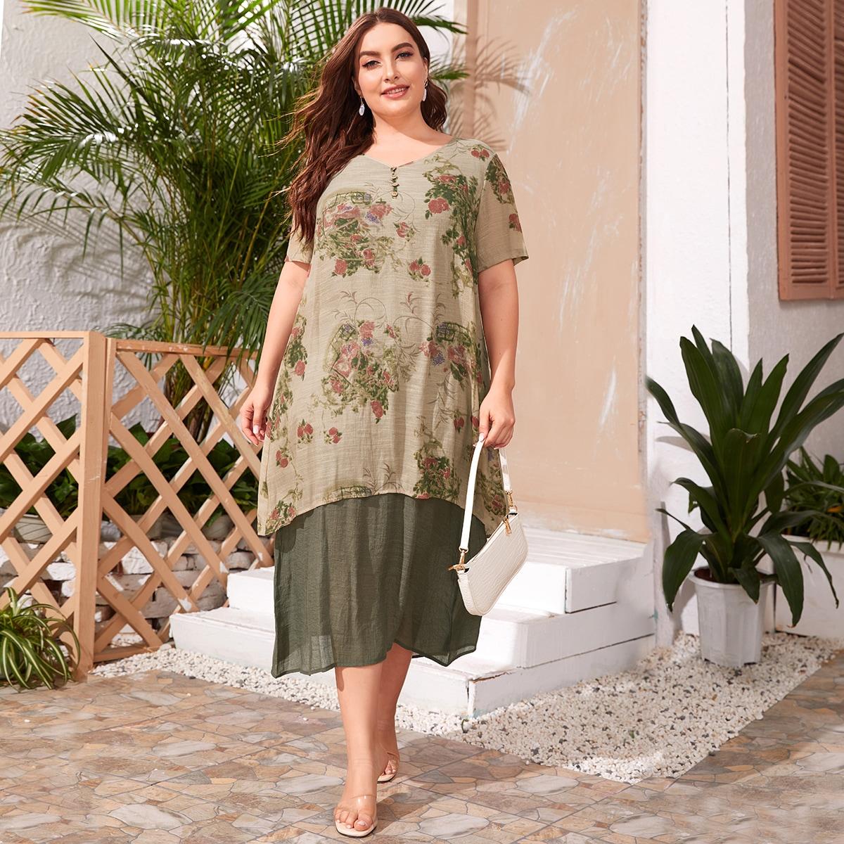 Многихцветные Однобортный Цветочный Повседневный Платья размер плюс