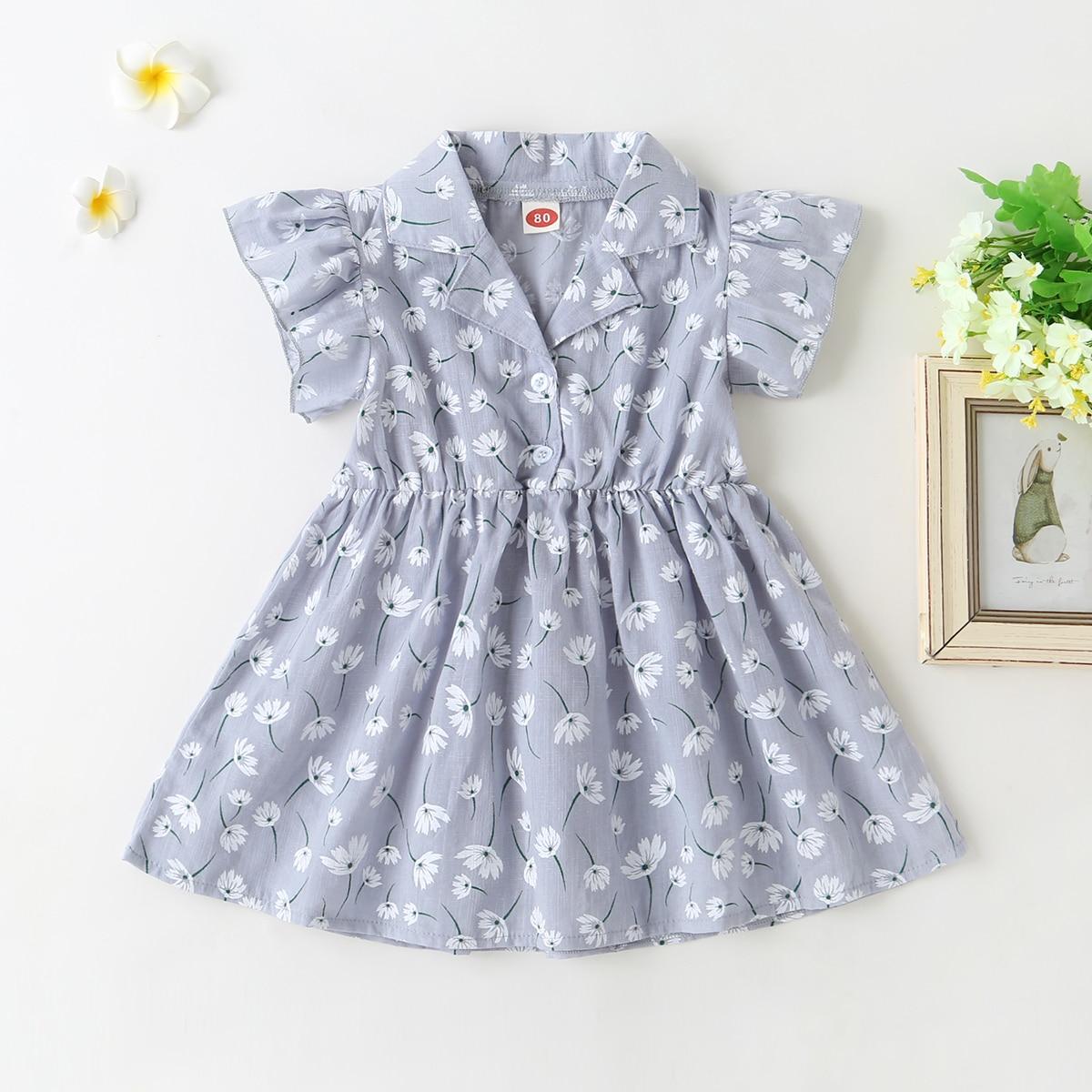 Пыльно-синий с воланами Цветочный принт милый Платья для малышей от SHEIN