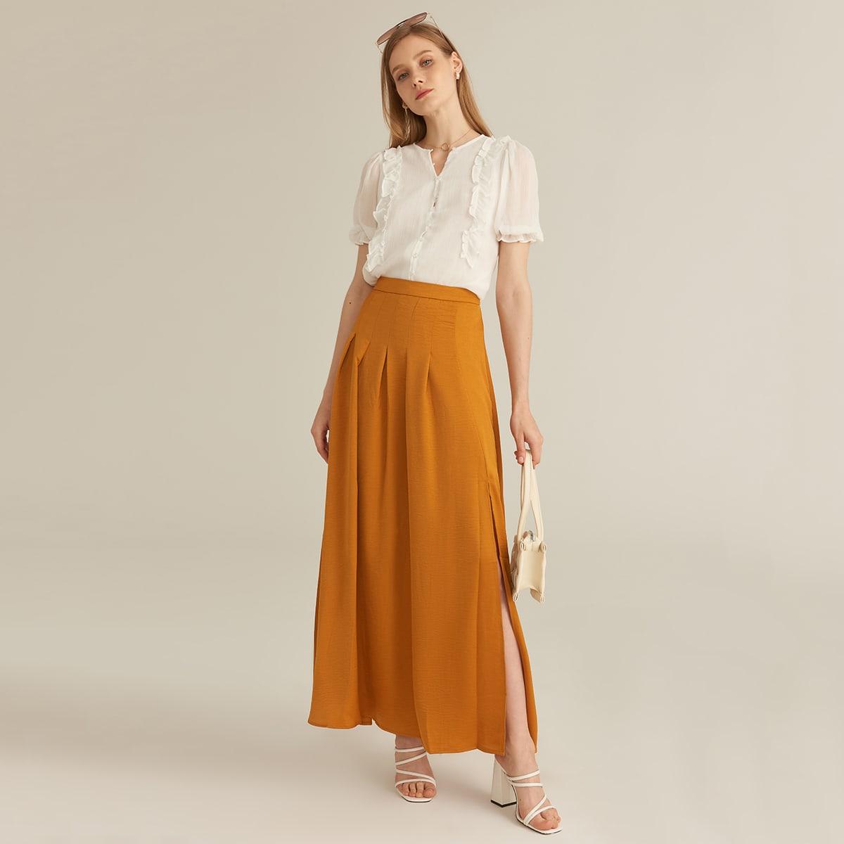 Плиссированная юбка с разрезом и молнией
