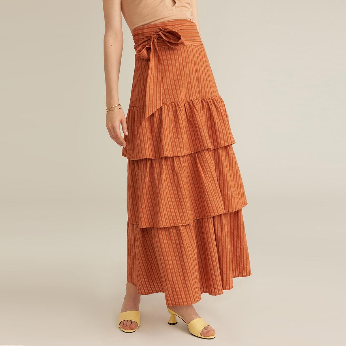 Многослойная макси-юбка из хлопка и льна
