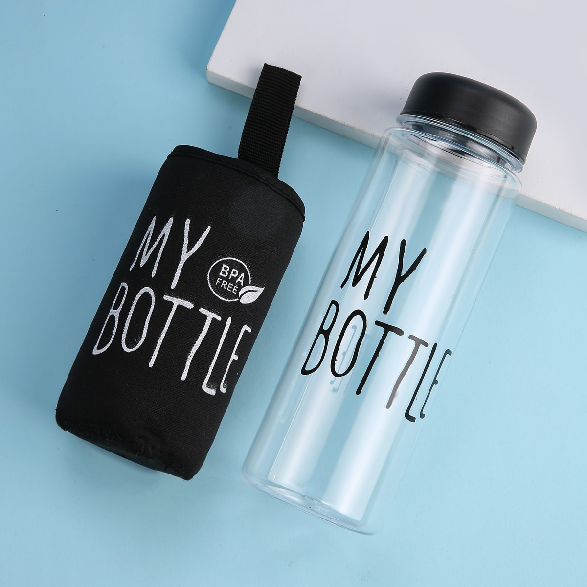 Slogan Graphic Water Bottle With Bag
