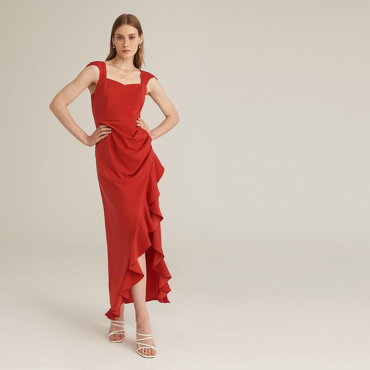 Официальное платье с оборкой