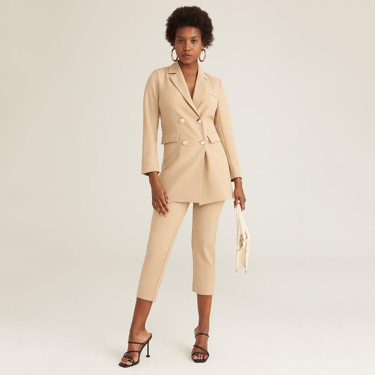 Двубортный пиджак и брюки с поясом