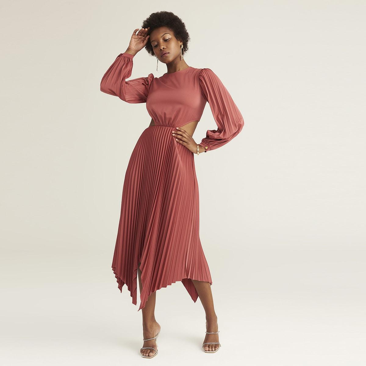 Атласное асимметричное плиссированное платье