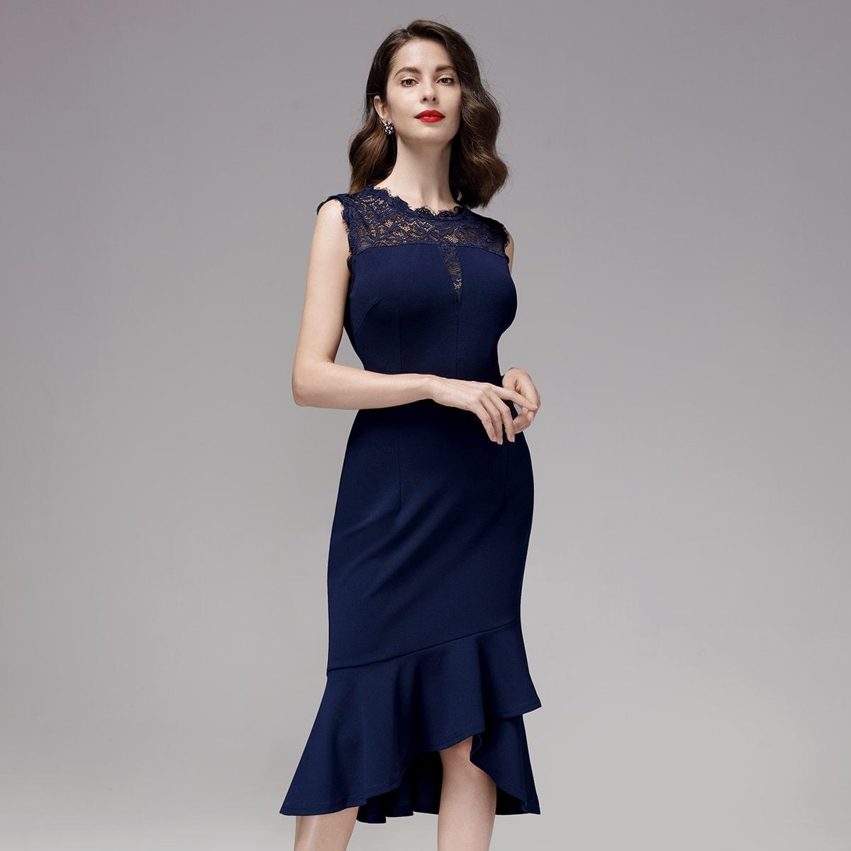 платье-русалка с молнией сзади и кружевом