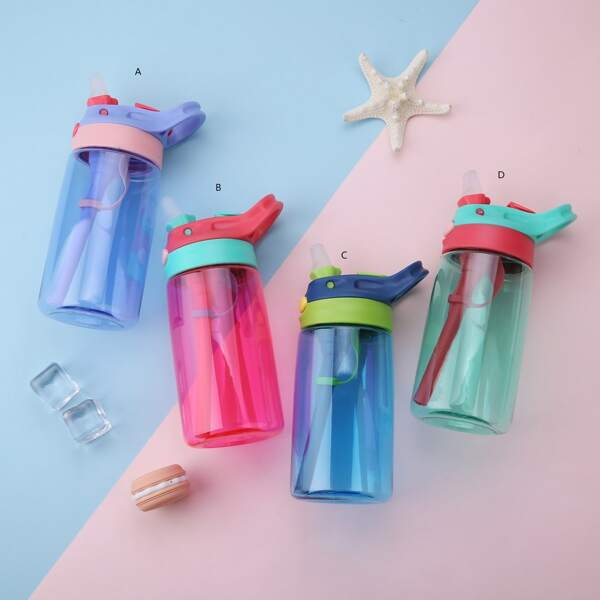 1pc Portable Straw Bottle, Multicolor