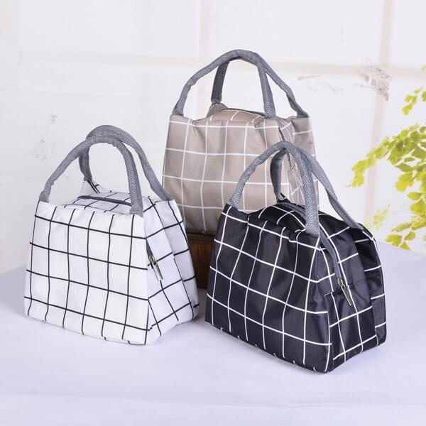 1pc Plaid Lunch Box Insulation Bag, Multicolor