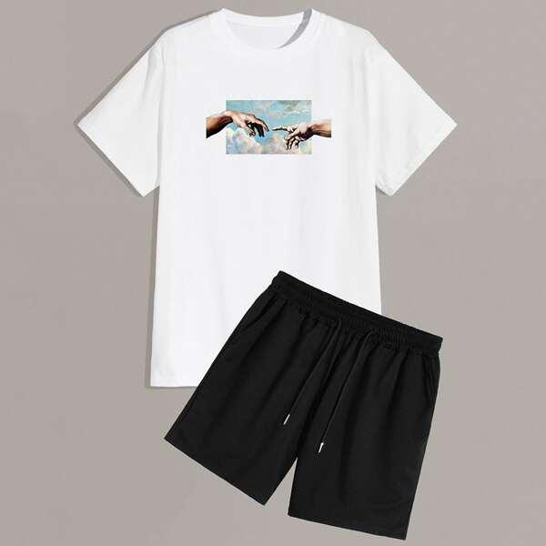 Men Hands Print Crew Neck Tee & Drawstring Shorts, Black and white