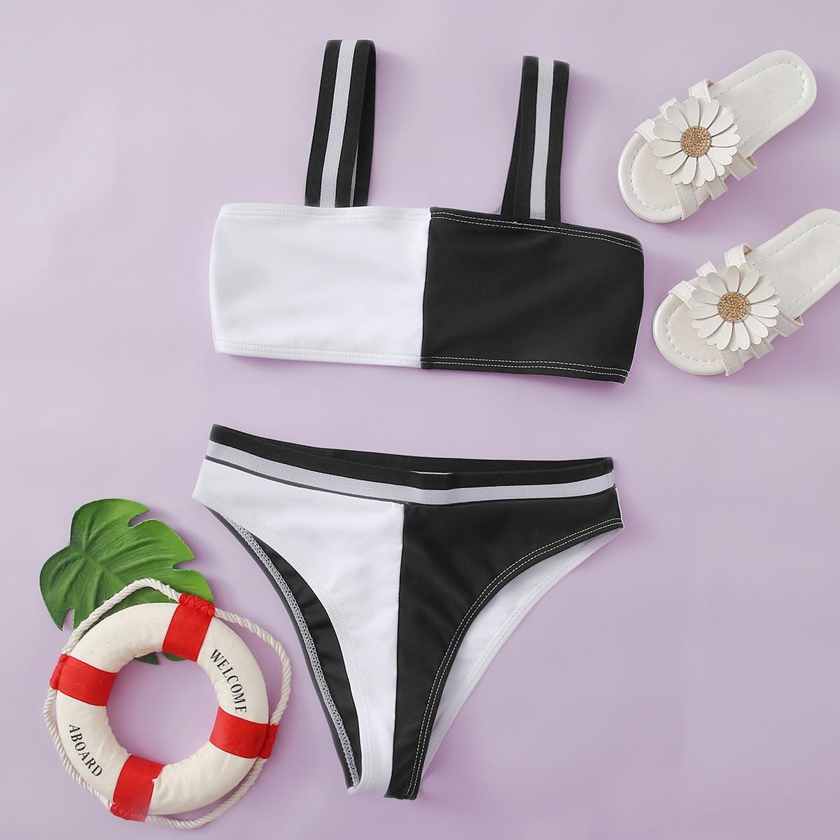 Чёрнобелые контрастный цвет повседневный купальники для девочек