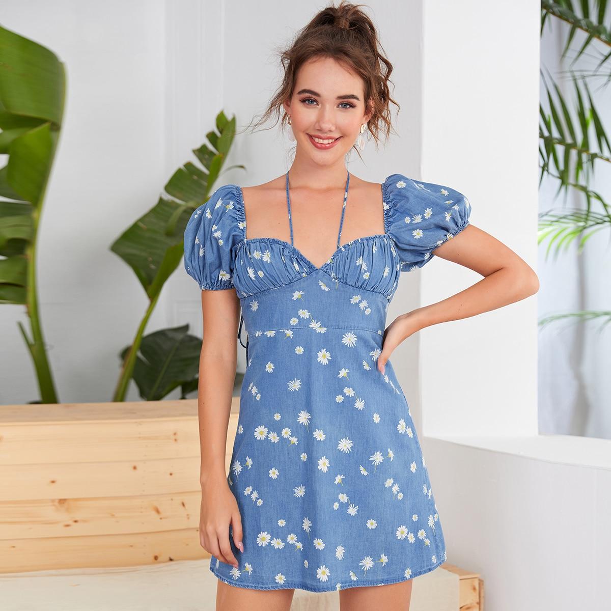 Средний синий умывания с бантом цветочный принт повседневный джинсовые платья