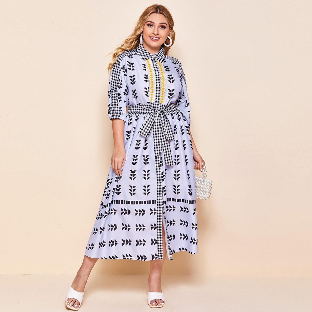 Платье-рубашка размера плюс в клетку с племенным принтом и поясом