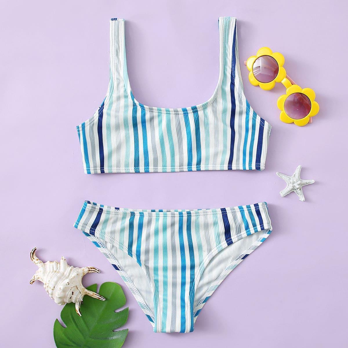 Многоцветный полосатый повседневный купальники для девочек