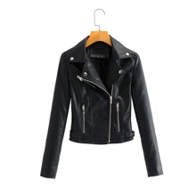 Zip Up PU Leather Moto Jacket