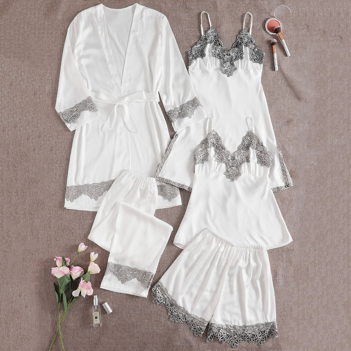5шт атласная пижама с поясом и кружевом