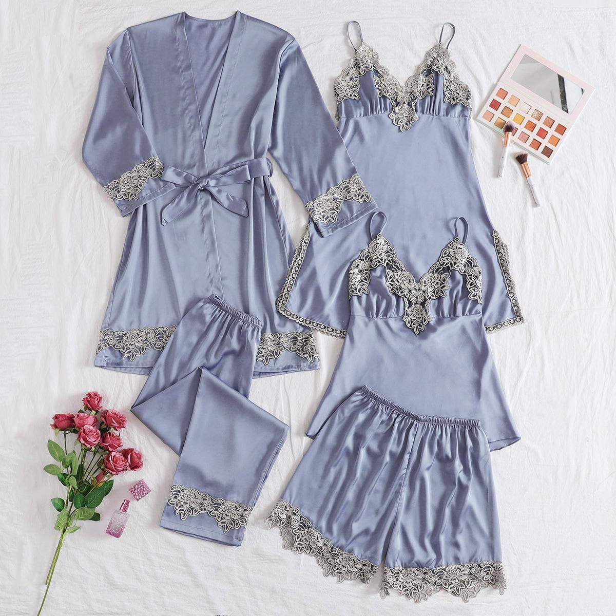 5шт атласная пижама с кружевом и поясом