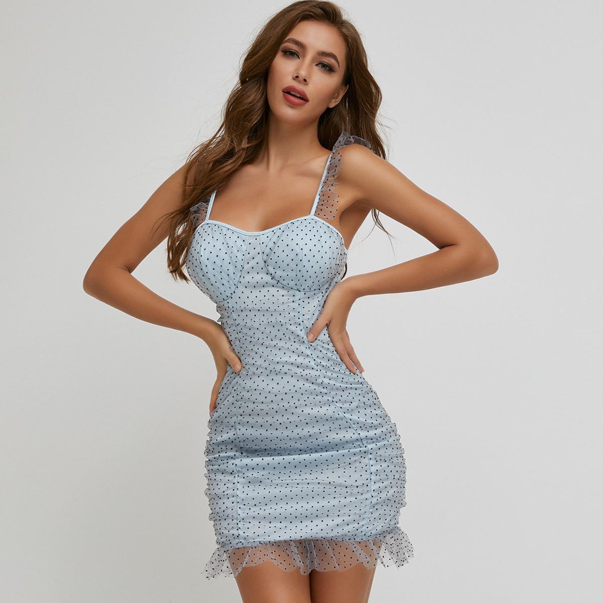 Ruched Bust Ruffle Trim Polka Dot Mesh Dress