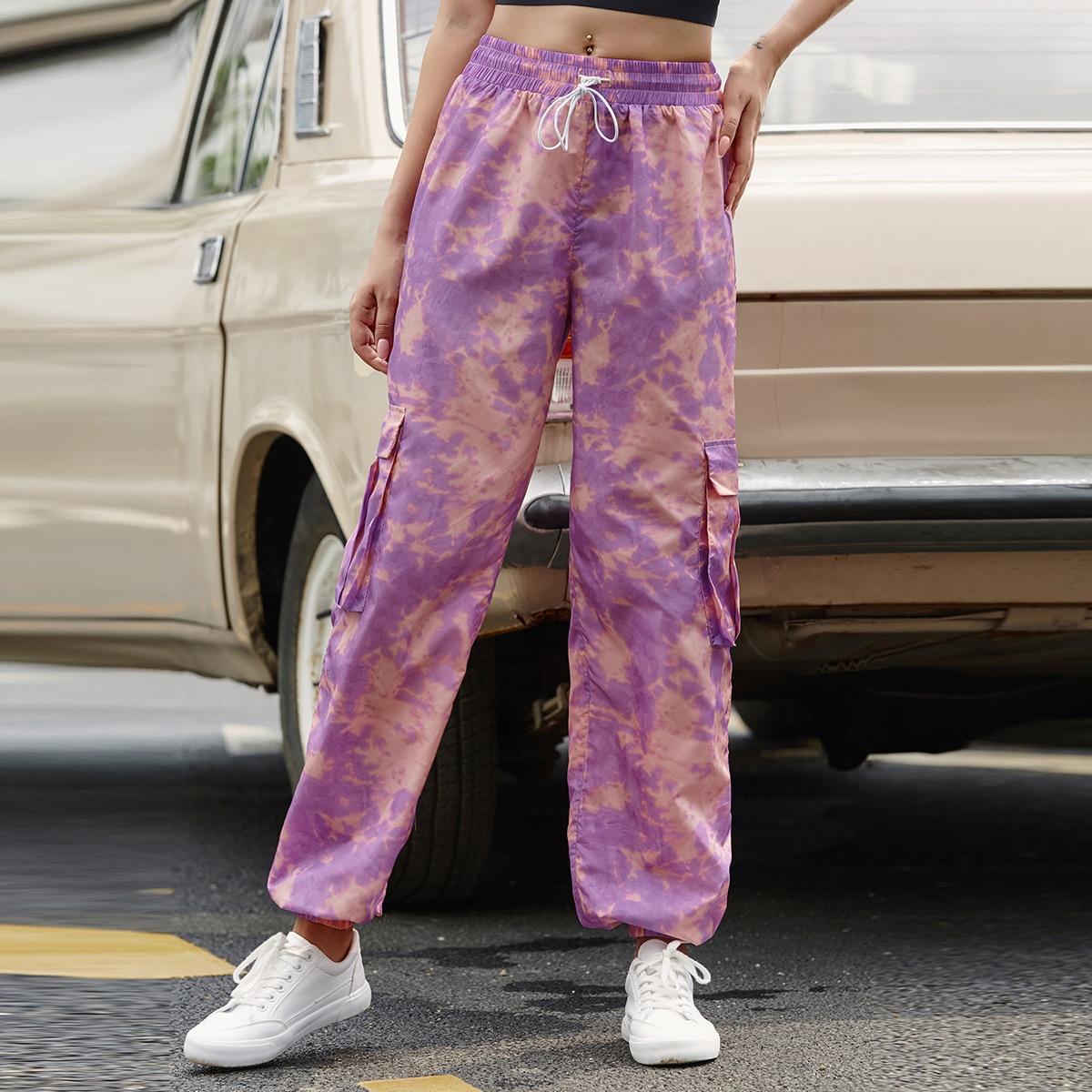 разноцветные брюки карго с узлом