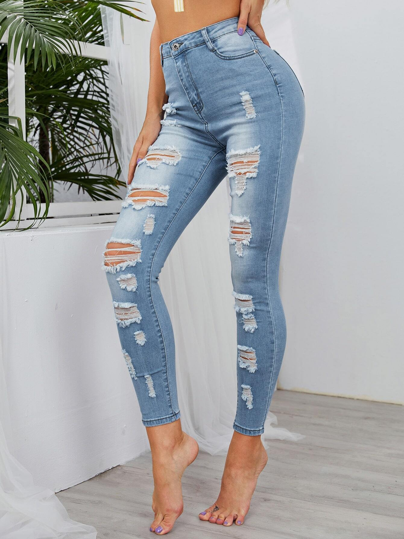 Light Wash High-Waisted High Stretch Skinny Jeans thumbnail