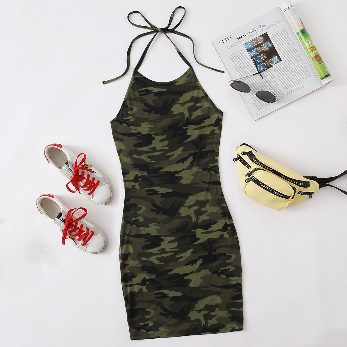 Облегающее платье с камуфляжным принтом и узлом SheIn swdress07200608368